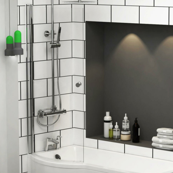 Premier Curved P-Bath Screen with Knob 1435mm High