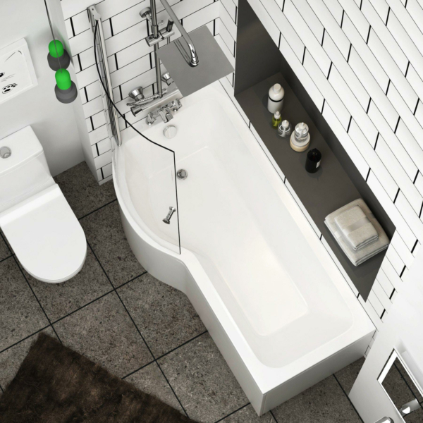 Abacus 1500 x 850mm Left Hand Curved P-Shaped Bath tub with Front Panel & Shower Screen