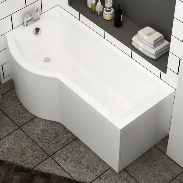 Abacus 1700 x 850mm P-Shaped Left Hand Shower Bath tub with Front & End Panel