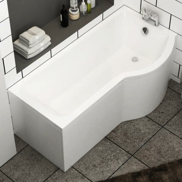 Abacus 1500 x 850mm P-Shaped Right Hand Shower Bath tub with Front Panel