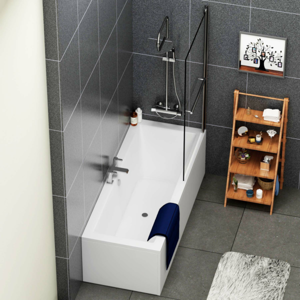 Amaze Acrylic Square Double Ended Shower Bath 1700 x 700mm + Square Shower Bath Screen with Rail