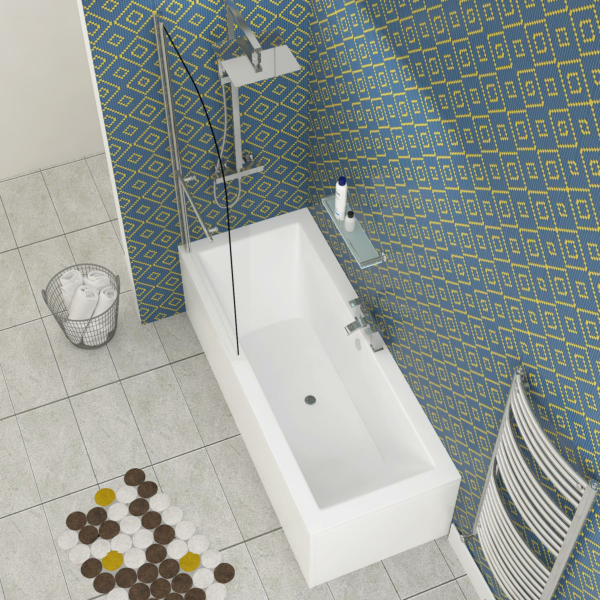 Amaze Square Double Ended Shower Bath 1800 x 800mm Acrylic + Round Top Shower Bath Screen with Towel Rail