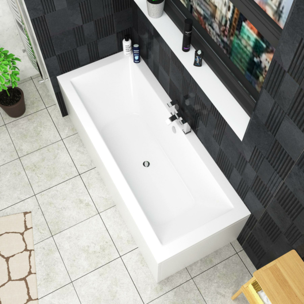 Amaze Square Double Ended Bath 1700 x 750mm Acrylic + Panel