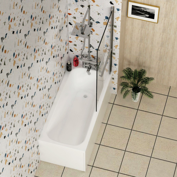 Breeze Acrylic Round Single Ended Shower Bath 1800 x 800mm Inc Square Shower Bath Screen with Rail + Front and End Panel