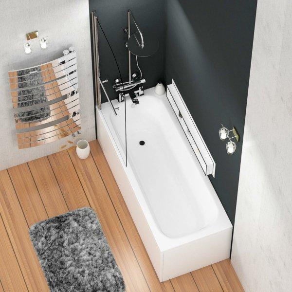 Breeze Acrylic Round Single Ended Shower Bath 1500 x 700mm Inc Round Top Shower Bath Screen with Towel Rail + Front Panel