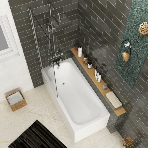 Breeze Round Single Ended Shower Bath 1600 x 700mm Acrylic Inc Square Shower Bath Screen + Front Panel