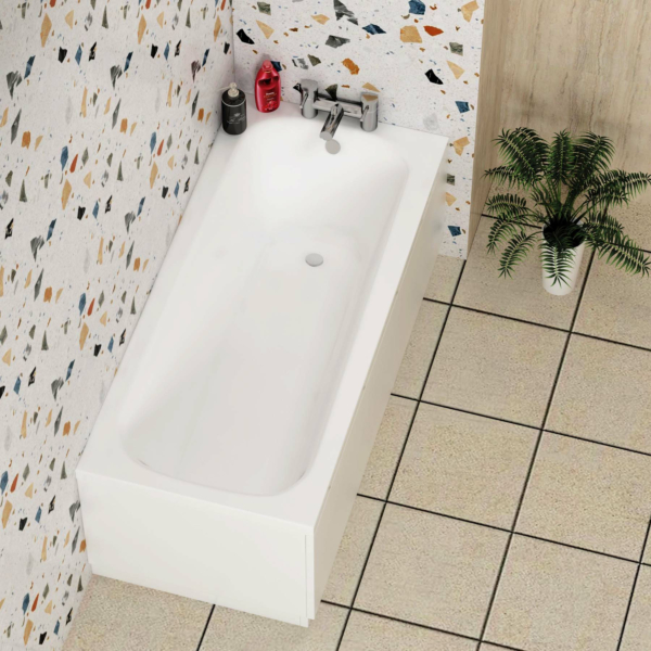 Breeze Curved Single Ended Bath 1500 x 700mm Acrylic Inc MDF Front Panel