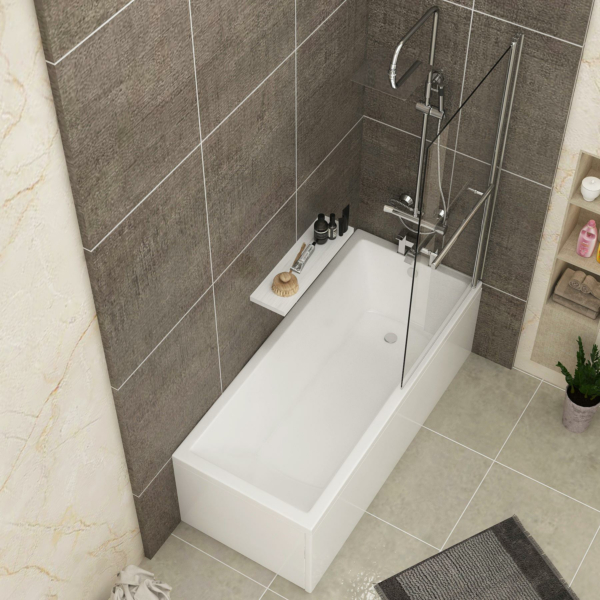 Cesar Acrylic Square Single Ended Shower Bath 1500 x 700mm Inc Square Shower Bath Screen with Rail + Front Panel