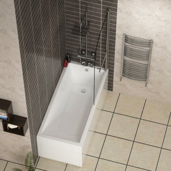 Cesar Designer Square Edge Single Ended Acrylic Bath Tub with Round Shower Screen with Rail - Various Sizes