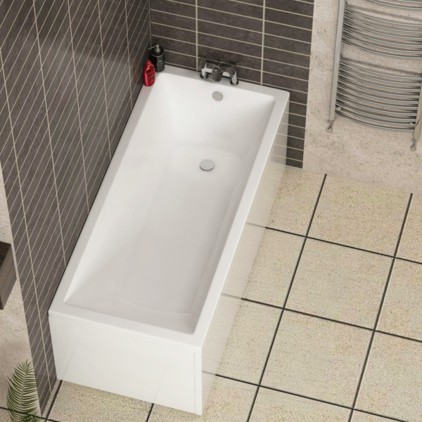 Cesar Square Single Ended Bath 1700 x 700mm Acrylic Inc Front & End Panels
