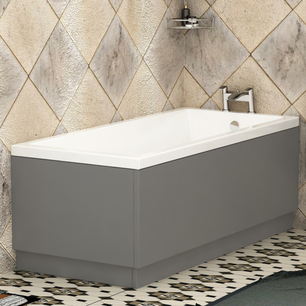 Cesar Square Single Ended Bath 1700 x 750mm Acrylic Inc MDF Grey Gloss Front & End Panel