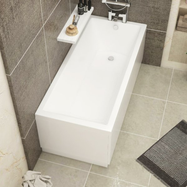 Cesar Square Single Ended Bath 1600 x 700mm Acrylic Inc MDF Front Panel