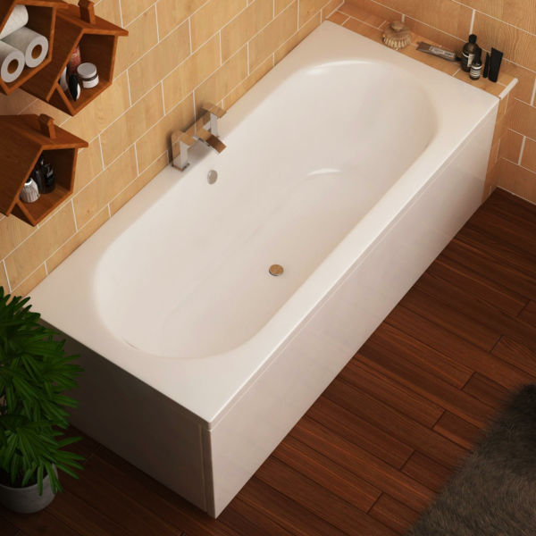 Elena Round Double Ended Bath 1800 x 800mm Acrylic + Panel