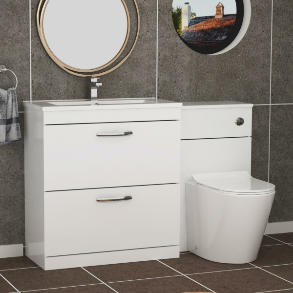 ModernTurin 1300mm Gloss White 2-Drawers Minimalist Basin with Cesar Back to Wall Toilet Pack
