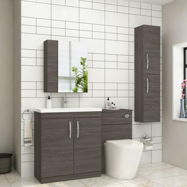 1300mm Grey Elm 2 Doors Furniture Pack with Mid Edge Basin & Cesar Back to Wall Toilet