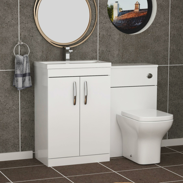 Turin 1300mm Gloss White 2-Doors Mid-Edge Basin with Qubix Back to Wall Toilet Pack