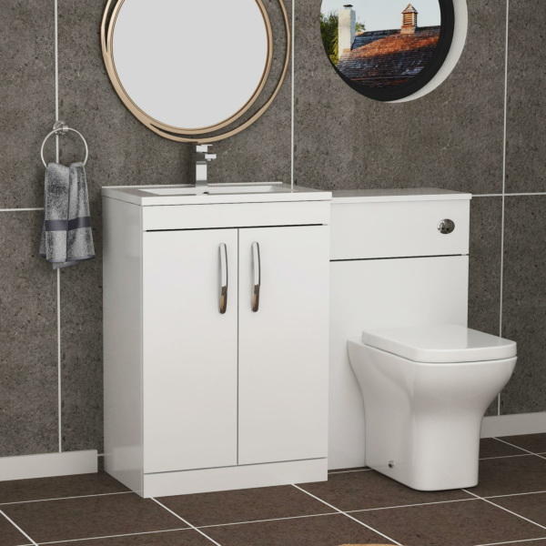 Turin 1300mm Gloss White 2-Doors Minimalist Basin with Qubix Back to Wall Toilet Pack