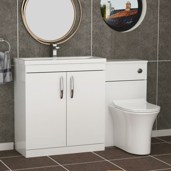 1300mm Gloss White 2 Doors Furniture Pack with Mid Edge Basin & Breeze Back to Wall Slim Seat Toilet