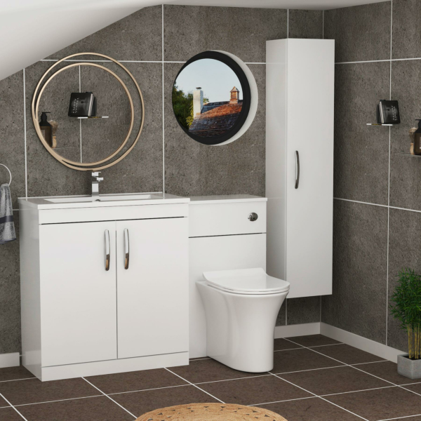 1300mm Gloss White 2 Doors Furniture Pack with Minimalist Basin & Breeze Back to Wall Slim Seat Toilet