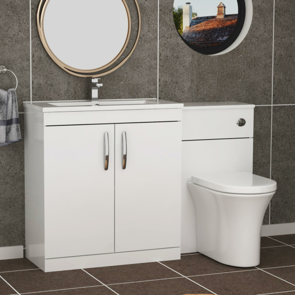 1300mm Gloss White 2 Doors Furniture Pack with Minimalist Basin & Breeze Back to Wall Toilet
