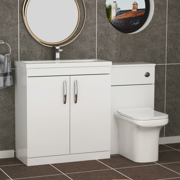 1300mm Gloss White 2 Doors Furniture Pack with Mid Edge Basin & Crosby Back to Wall Toilet