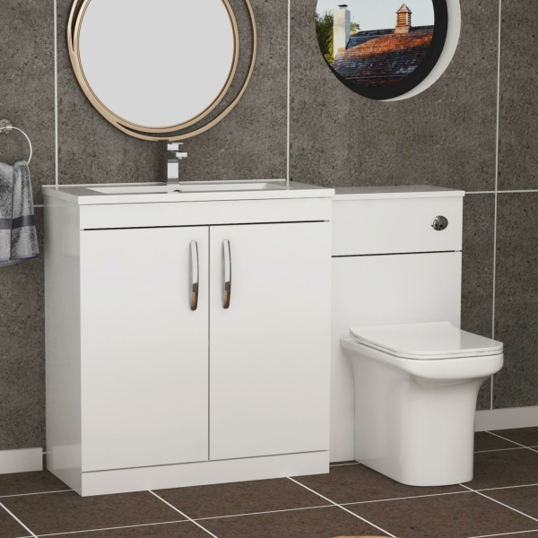 1300mm Gloss White 2 Doors Furniture Pack with Minimalist Basin & Crosby Back to Wall Toilet