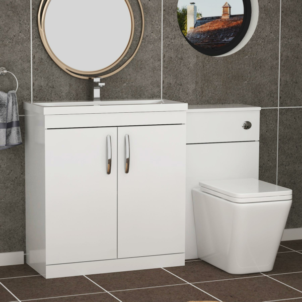 1300mm Gloss White 2 Doors Furniture Pack with Mid Edge Basin & Slim Elena Back to Wall Toilet