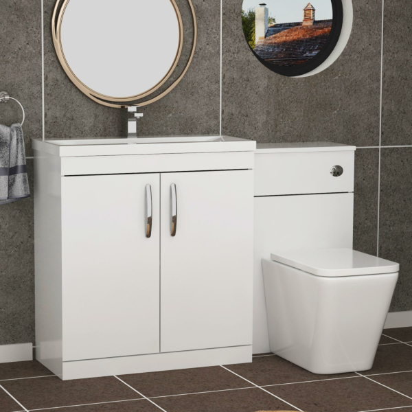 1300mm Gloss White 2 Doors Furniture Pack with Mid Edge Basin & Elena Back to Wall Toilet