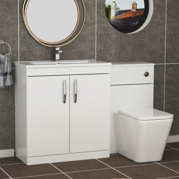 1300mm Gloss White 2 Doors Furniture Pack with Minimalist Basin & Elena Back to Wall Toilet