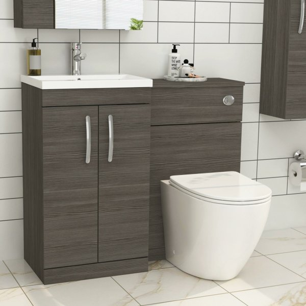 1000mm Grey Elm 2 Doors Furniture Pack with Mid Edge Basin & Slim Abacus Back to Wall Toilet