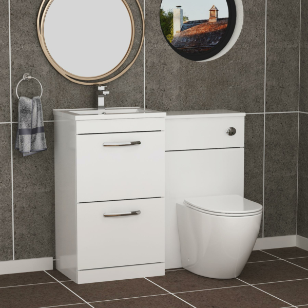 1000mm Gloss White 2 Drawer Furniture Pack with Minimalist Basin & Slim Abacus Back to Wall Toilet