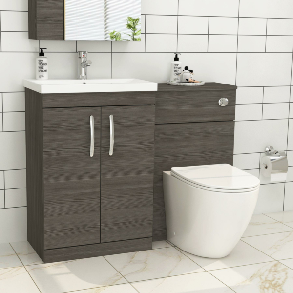 1100mm Grey Elm 2 Doors Furniture Pack with Mid Edge Basin & Slim Abacus Back to Wall Toilet