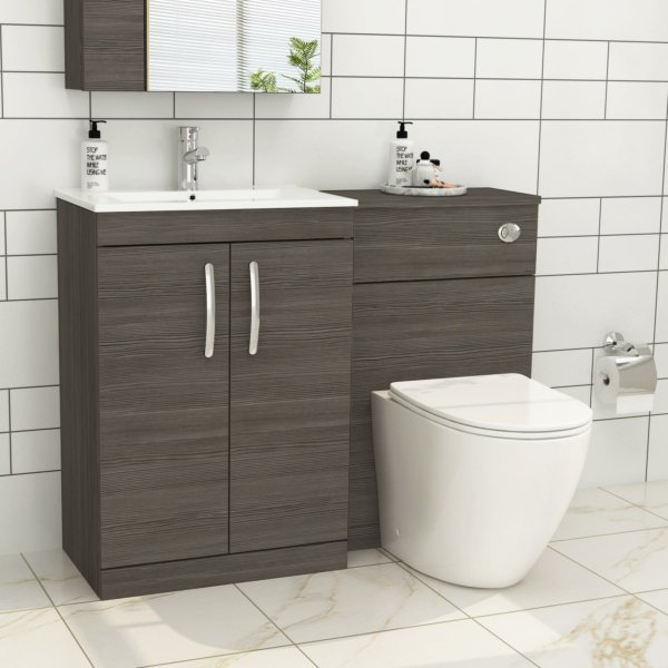 1100mm Grey Elm 2 Doors Furniture Pack with Minimalist Basin & Slim Abacus Back to Wall Toilet