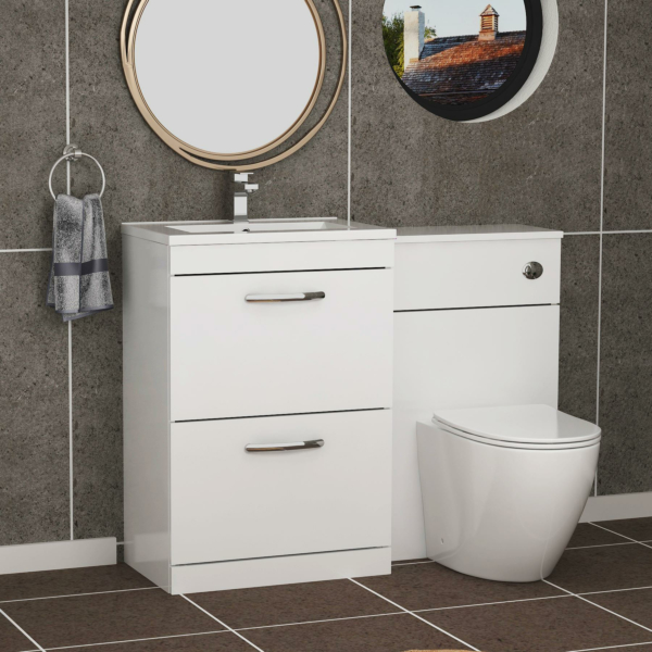 1100mm Gloss White 2 Drawer Furniture Pack with Minimalist Basin & Slim Abacus Back to Wall Toilet