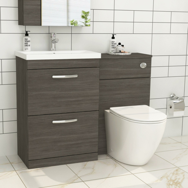 1100mm Grey Elm 2 Drawer Furniture Pack with Mid Edge Basin & Slim Abacus Back to Wall Toilet