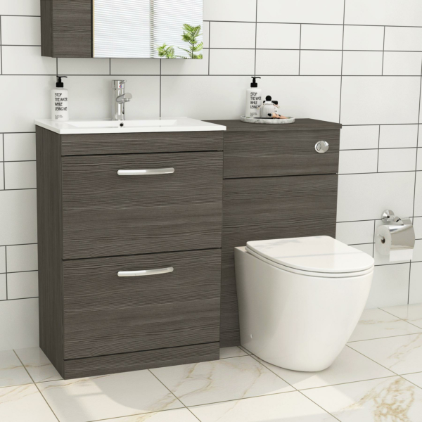 1100mm Grey Elm 2 Drawer Furniture Pack with Minimalist Basin & Slim Abacus Back to Wall Toilet