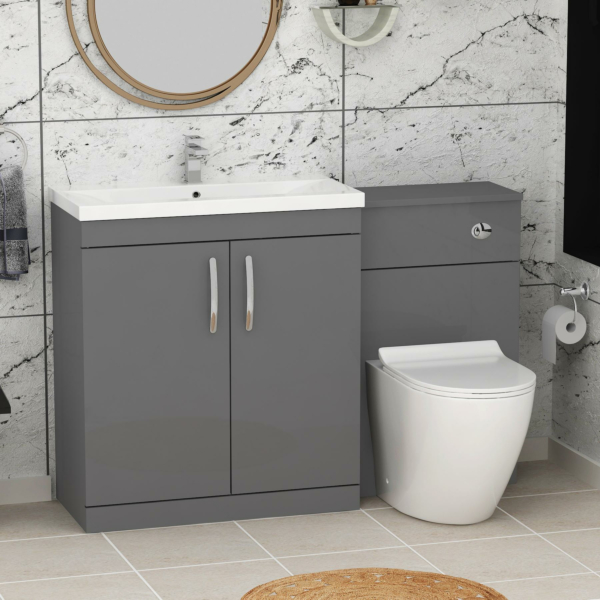 1300mm Indigo Grey Gloss 2 Doors Furniture Pack with Mid Edge Basin & Slim Abacus Back to Wall Toilet