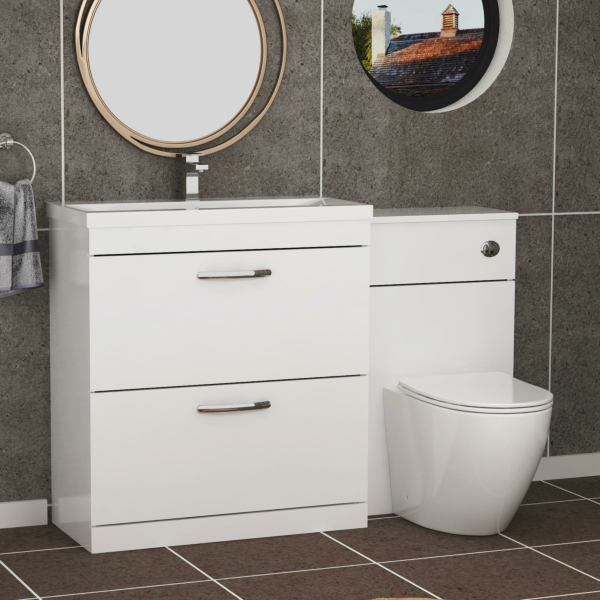 1300mm Gloss White 2 Drawer Furniture Pack with Mid Edge Basin & Slim Abacus Back to Wall Toilet