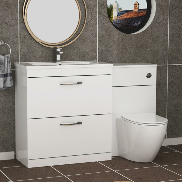 1300mm Gloss White 2 Drawer Furniture Pack with Minimalist Basin & Slim Abacus Back to Wall Toilet