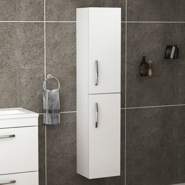 Turin 1450mm Gloss White 2-Door Wall Hung Tall Boy Unit