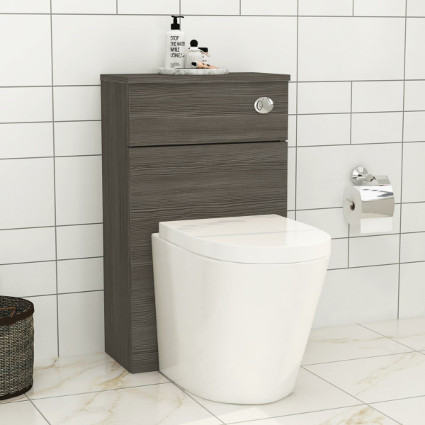 500mm Grey Elm BTW WC Unit with Cesar Rimless Toilet Pan & Seat, Cistern