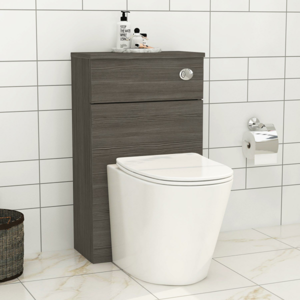 Grey Elm 500mm WC Toilet Unit with Cesar Rimless BTW Pan & Seat, Cistern