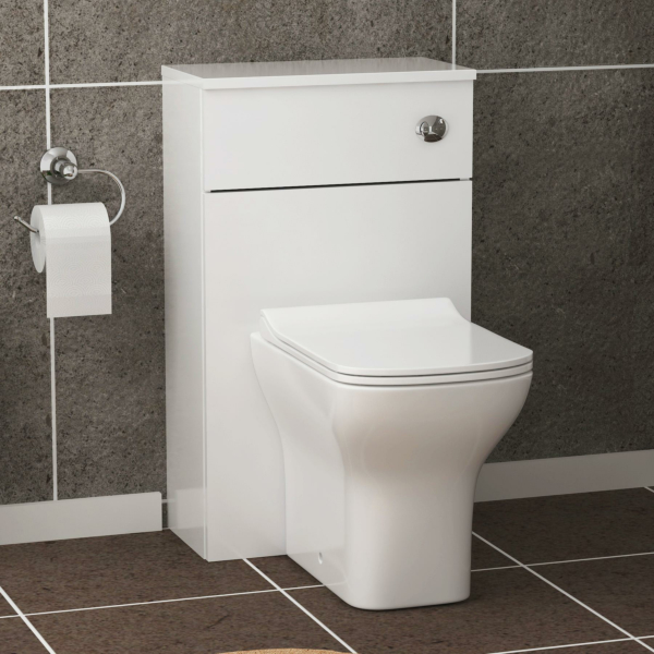 500mm Gloss White BTW WC Unit with Qubix Rimless Toilet Pan & Seat, Cistern