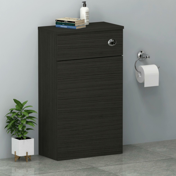 Turin 500mm Hale Black Back to Wall Toilet Unit