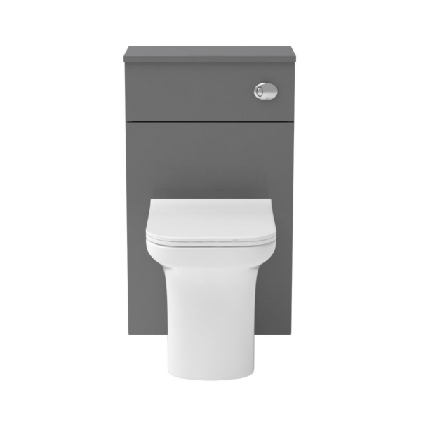 500mm Grey Gloss BTW WC Unit with Crosby Rimless Toilet Pan & Seat, Cistern