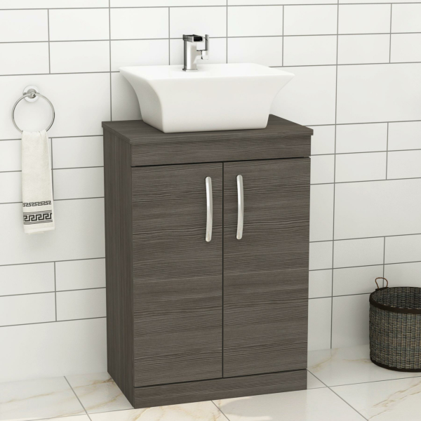 500/600mm Floor Standing Vanity Unit 2 Door Grey Elm & Countertop Basin - Amaze