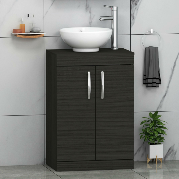 500/600mm Hale Black Floor Standing Vanity Unit 2 Door & Countertop Basin - Breeze