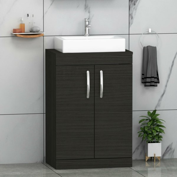 500/600mm Floor Standing Vanity Unit 2 Door Hale Black & Countertop Basin - Icona