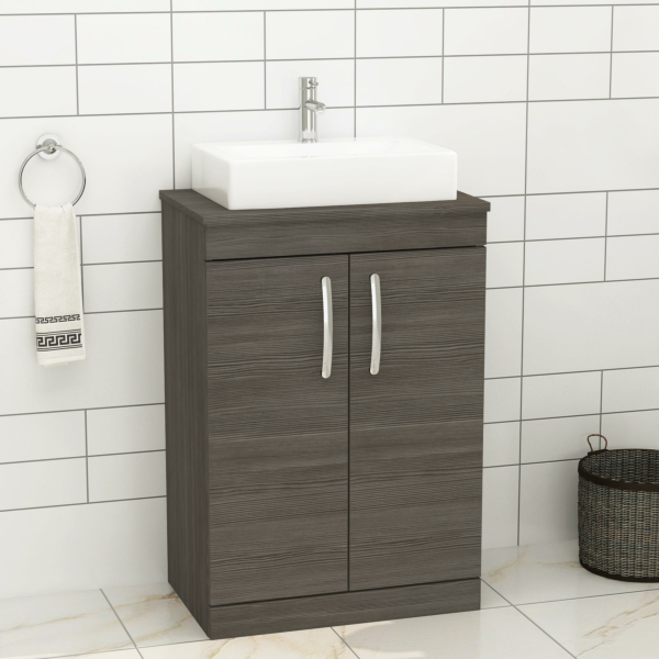 500/600mm Floor Standing Vanity Unit 2 Door Grey Elm & Countertop Basin - Icona
