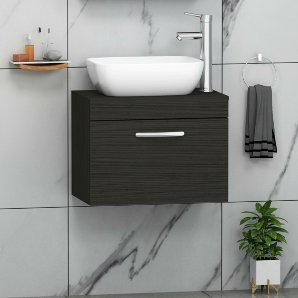 500/600/800mm Wall Hung Vanity Unit 1 Drawer Hale Black & Countertop Basin - Abacus